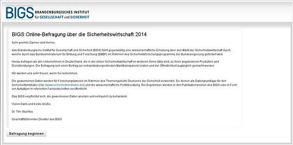 BIGS Online-Befragung über die Sicherheitswirtschaft 2014