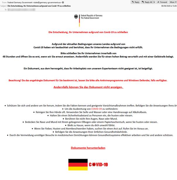 Gefälschte E-Mail der Bundesregierung