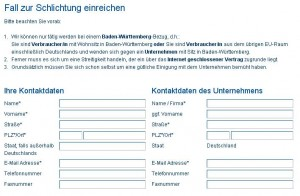 Auszug aus dem Online-Formular der Schlichtungsstelle