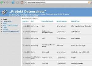 Screenshot von http://projekt-datenschutz.de/ am 02.11.2009