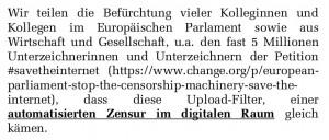 Screenshot: MdB-Schreiben Nicola Beer, Jimmy Schulz und Manuel Höferlin an ALDE Group im EU-Parlament
